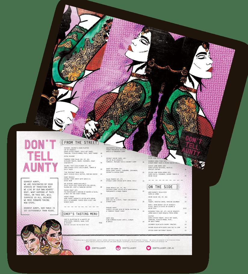 don't tell aunty menu